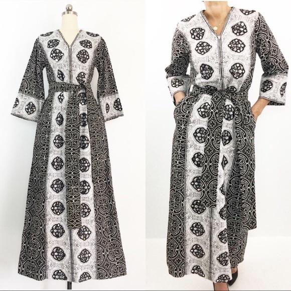 Vintage Dresses & Skirts - SOLD-Vintage 60s I.Magnin Boho Caftan Robe Dress